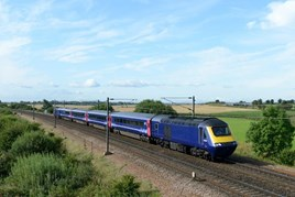 43132 leads the first HST to transfer from Great Western Railway to ScotRail, through Colton near York, on September 1. RON COVER.