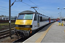 Greater Anglia 90002 at Norwich. RICHARD CLINNICK.