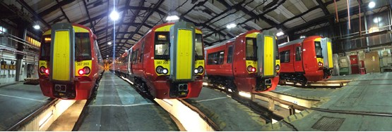 Four Class 387/2s stand inside Bletchley on December 14. GTR.