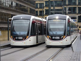 Trams 275 and 266 at Haymarket. RICHARD CLINNICK.