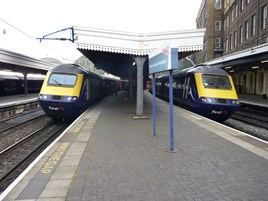 First Great Wester 43092 and 43188 at London Paddington on September 26 2014. RICHARD CLINNICK.