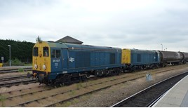 HNRC 20107 and 20096, on hire to GB Railfreight, at Derby on June 26 2015. RICHARD CLINNICK.