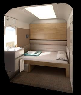 Interior of the Caledonian Sleeper Mk 5 double berth. CALEDONIAN SLEEPER.