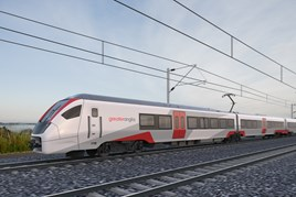 An artist's impression of a Greater Anglia Stadler 12-car train. GREATER ANGLIA.