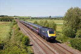 Great Western Railway 43021 David Austin - Cartoonist leads the 1132 Paignton-London Paddington through Wick, Somerset, on May 26. ANTONY CHRISTIE.